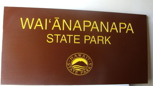 G16203 - Painted Cedar Wood Monument Sign for Hawaiian State Parks