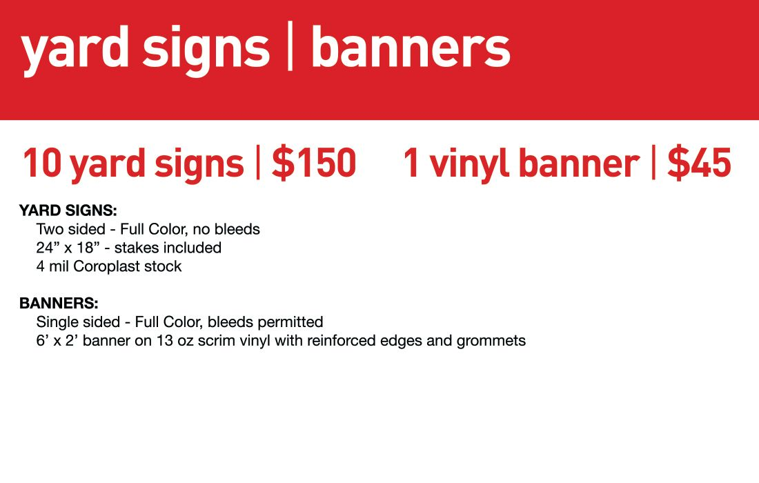 SBB Yard Signs & Banners- Std lead time 3-5 business days