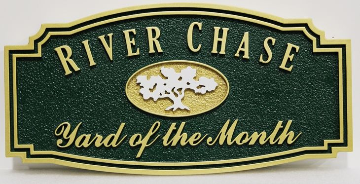 "KA20923 - Carved and Sandblasted HDU Yard-of-Month Sign, for ""River Chase"""" HOA"