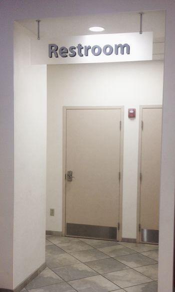 Ceiling Hanging Restroom Sign