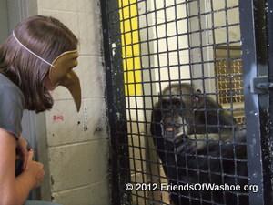 A caregiver plays a mask game with Tatu