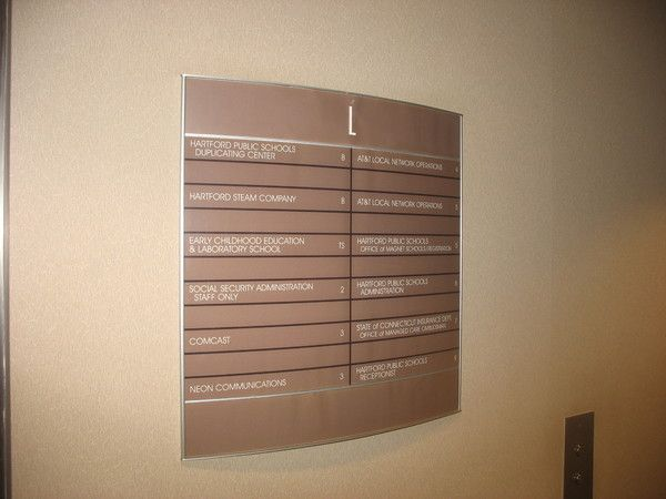 Interior Lobby Directory, Easy Change Printed Paper Insert, Convex Lens Cover