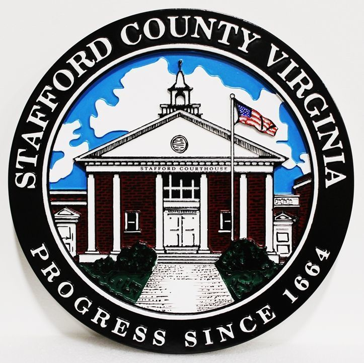 X33412 - Carved 2.5-D HDU Plaque of the Seal of Stafford County, Virginia