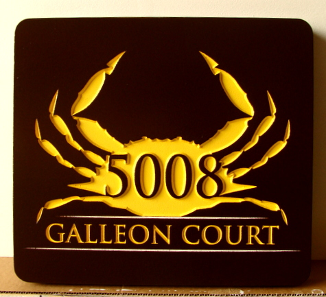 L21560 - Seashore Condo Address Sign made of HDU,  with Engraved Crab