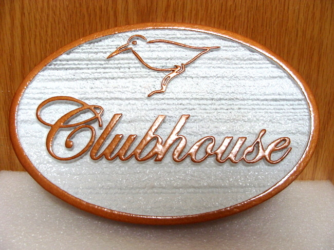 KA20610 Carved Wood AND HDU Clubhouse Sign with Carved Outline Silhouette of Seabird
