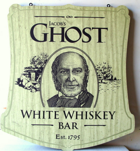 RB27111- Engraved Stained Oak for Jacob's Ghost White Whiskey Bar
