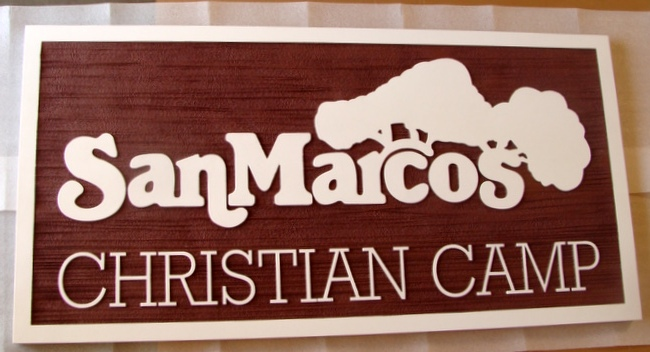 D13130 - Carved Wood Christian Camp Sign