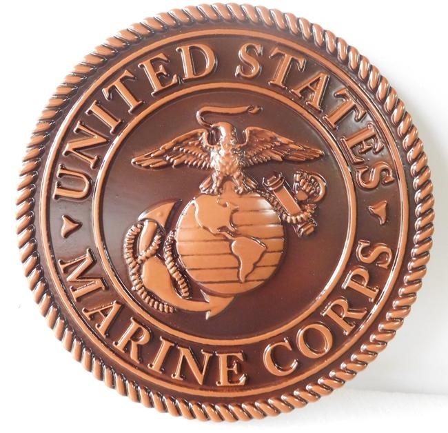 V31408 - 3-D Bronze-coated  Wall Plaque of the US USMC Emblem