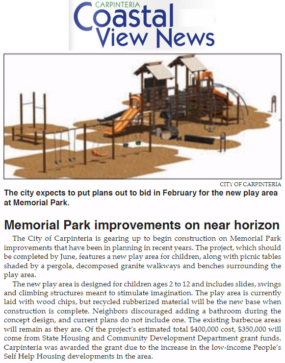 Memorial Park improvements on near horizon - Carpinteria Coastal View News