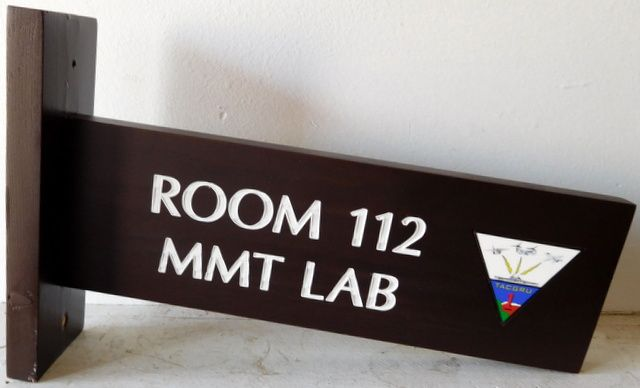 U30830 - Engraved Cedar Directional Sign with Color Crest