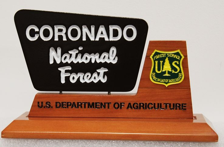 AP-5777 - Carved Table Top Plaque for Coronado National Forest