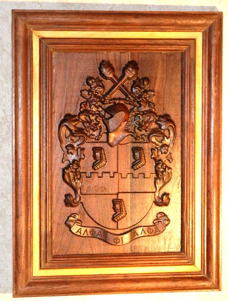 N23354 - Carved 3-D  Redwood Wall Plaque featuring the  Coat-of-Arms of the Alpha Phi Alpha Fraternity.