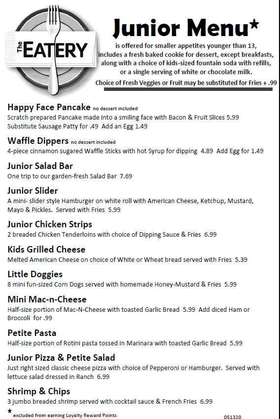 Junior Menu