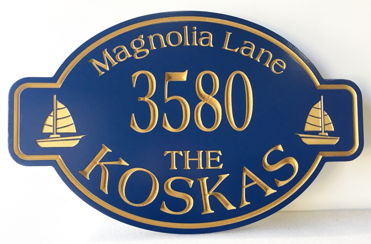 """L21323 - Elegant  V-carved Engraved  HDU  Beach House Address and Name Sign """"The Koskas """", with Two Sailboats"""