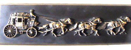 M7175 - Brass Wall Plaque of Stagecoach and Running Horses