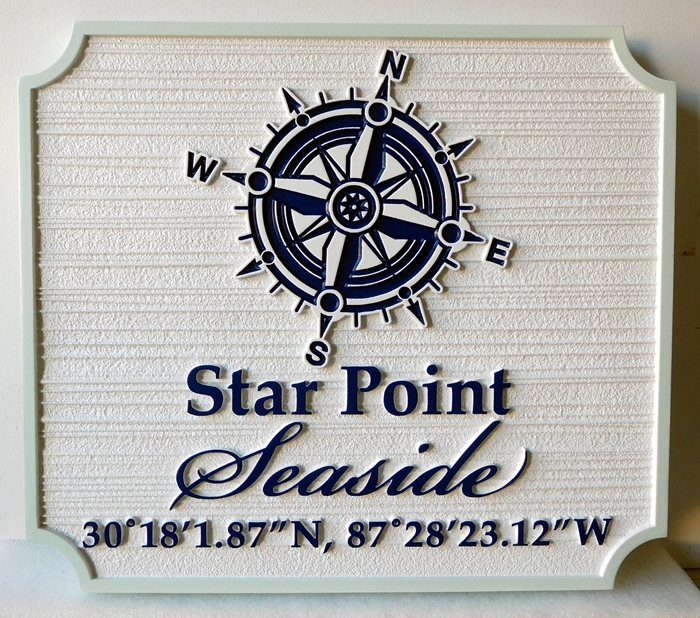 L21999 - Yacht Interior or Berth Plaque  Featuring  a Compass Rose and Latitude and Longitude