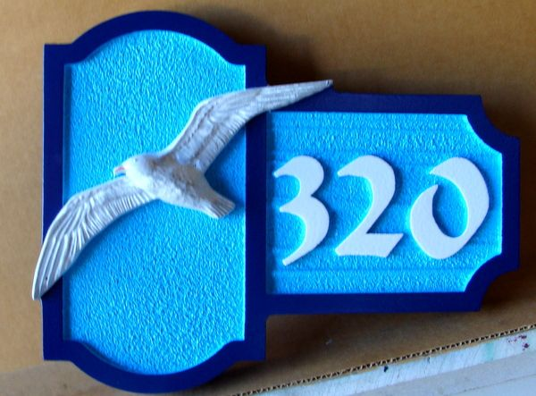 L21609  – HDU Coastal Residence Address Sign, with Carved  3-D Seagull in Flight