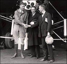 Lindbergh with Transatlantic Competitor Richard Byrd