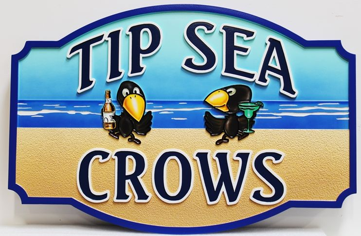 """L21654 - Carved 2.5D Multi-level  Beach House Sign """"Tip Sea Crows"""", with  Two Crows,a Beach, and the Ocean as Artwork"""