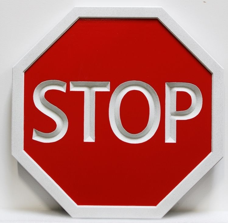 H17180 - Carved and Engraved HDU Stop Sign, with Reflective White Paint