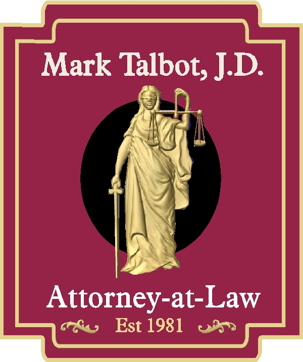 A10165 - Carved 3-D Attorney Sign with  Gold Leaf
