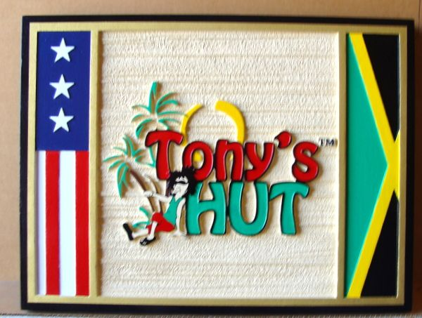 "L21088 -– Carved and Sandblasted 2.5D HDU Beach House Sign ""Tony's Hut"", Cartoon Beach Character, Flag and Palm Trees"