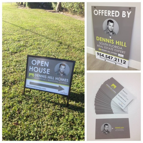 New company identity & listing signs for Dennis Hill Homes – Real Estate Expert in Fort Lauderdale, FL