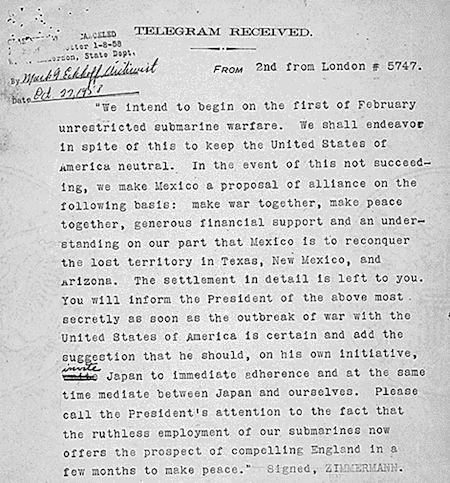 1917: Zimmermann Telegram released to U.S. press.