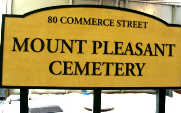 GC16290 - Carved High-Density-Urethane (HDU) Entrance Sign  for the Mount Pleasant Cemetery