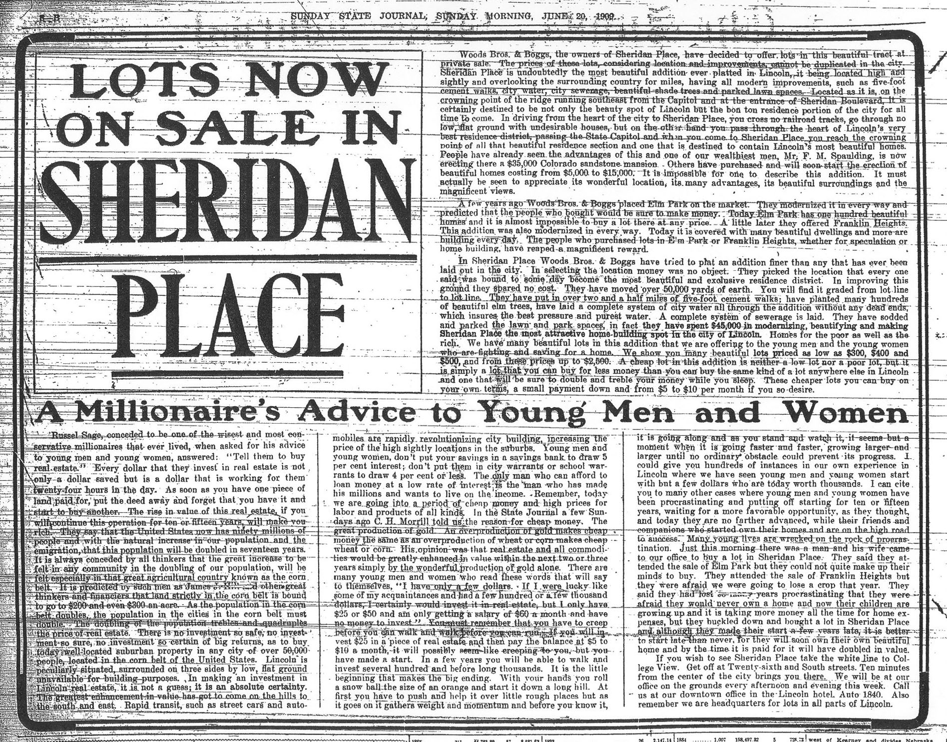 1909 Sunday State Journal Advertisement about Sheridan Boulevard Lots