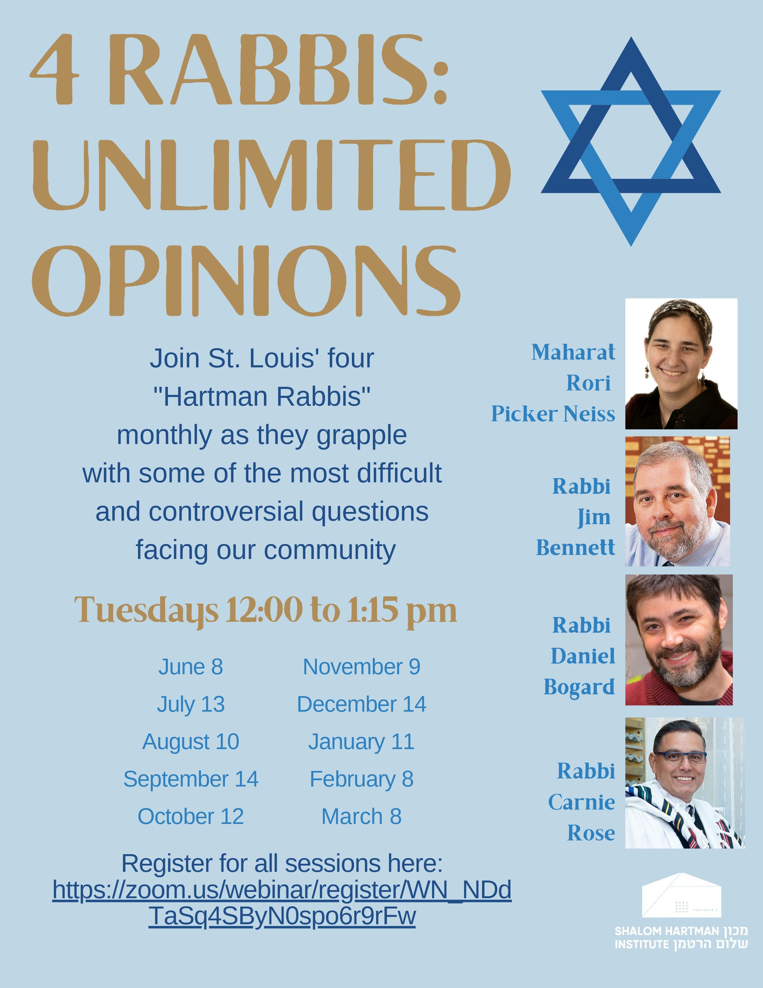 Four Rabbis Unlimited Opinions Flyer