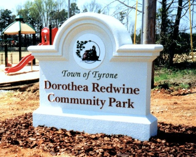 GA16407 -  Monument Sign for Community Park with Carved Train Locomotive