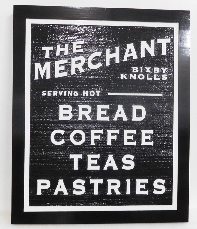 Q25644 - Black and White, Carved HDU Sign for Restaurant Serving Bread, Coffee, Tea and Pastries
