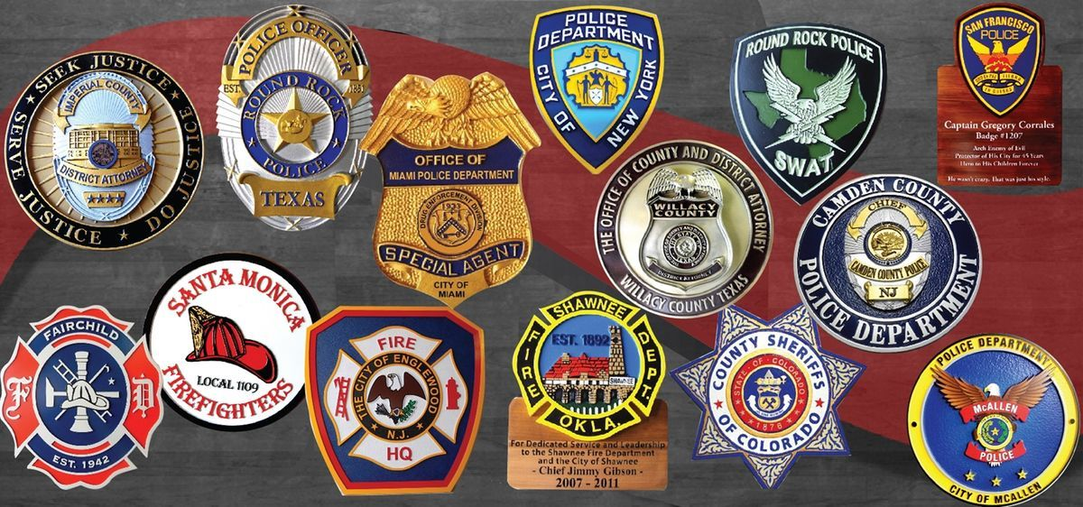 Carved Wall Plaques for Police, Sheriff and Fire Departments