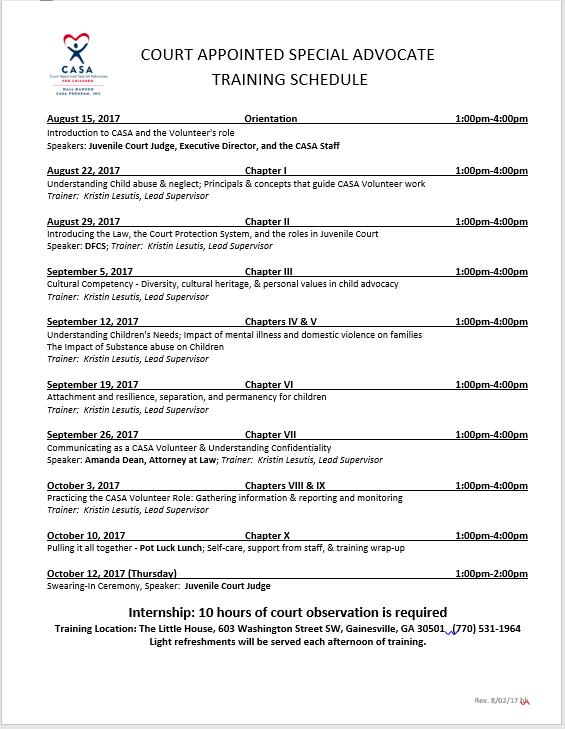 Daytime Training Schedule
