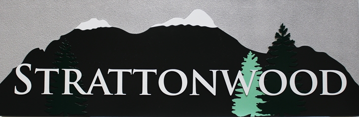 T29162 - Carved  Sign for Strattonwood Resort, with Snow-capped Mountains and  Fir Trees