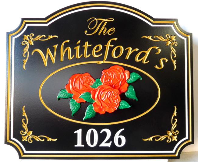 I18204 -3-D HDU Residence Sign with Engraved 24K Gilded Text and Trim, and Carved Roses