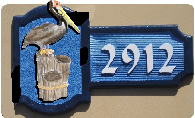 L21620 - Carved 3-D Pelican Address Sign