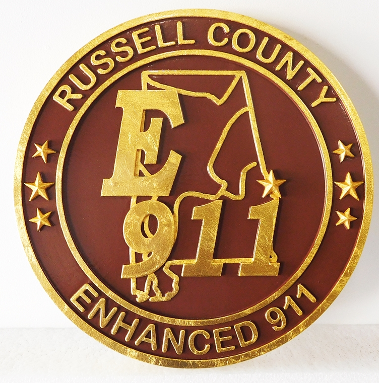 X33378 - Carved 2.5-D HDU , with 24K Gold Leaf Gilding, Plaque for Russell County, AL