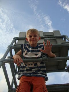 This is a picture of Jack (the blogger's son) waving at the camera