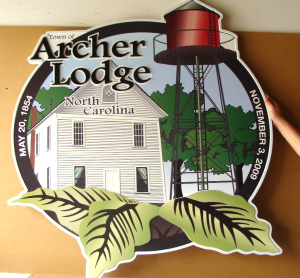 T29044 - Carved 2.5-D HDU Entrance Sign for Archer Lodge, with Digitally Printed Vinyl Painting of a Scene