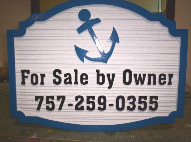 """L21772 - Beach House """"For Sale By Owner"""" Sign with Phone Number and Ship's Anchor"""