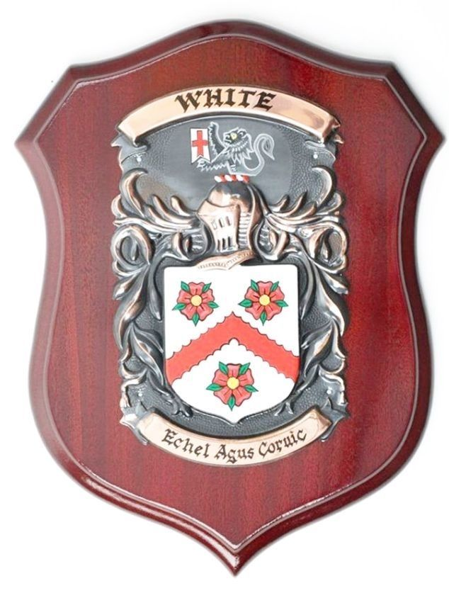 XP-2120 - Carved Shield Wall Plaque of Family Coat-of-Arms / Crest, Brass Plated with Mahogany Wood