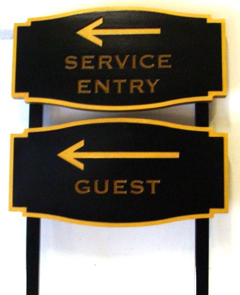 "T29413 - Carved and Sandblasted  HDU Office Signs (""Guest"" and ""Service Entry"")"
