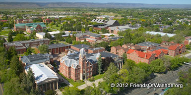An arial view of the CWU campus