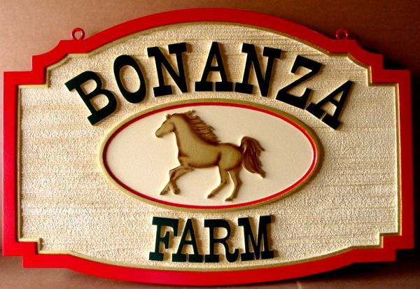 "P25100 - Sandblasted Sign for ""Bonanza Farm"",  with Horse Image"