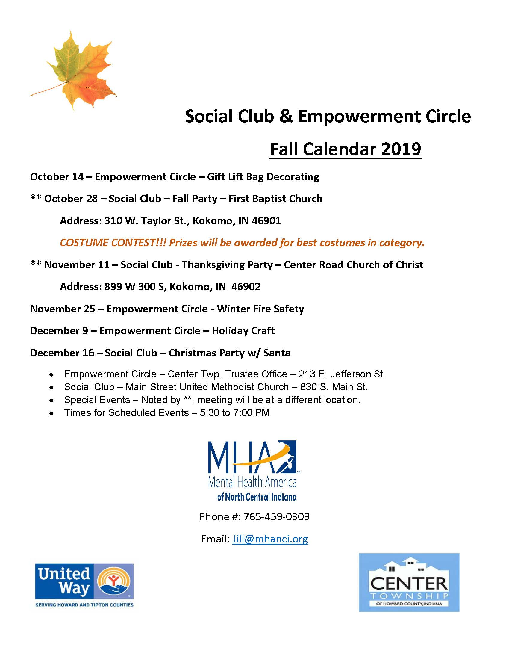 Social Club & Empowerment Circle - 4th Quarter Calendar