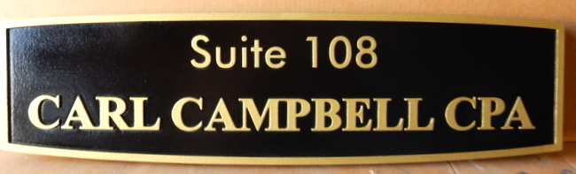 C12036 - Elegant Carved CPA Firm Sign, in Gold and Black
