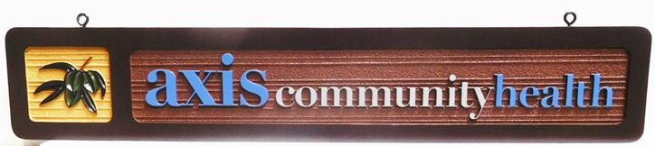 B11098 - Carved and Sandblasted  Wood Grain Entrance Sign for the Axis Community Health Organization, 2.5-D Artist-Painted
