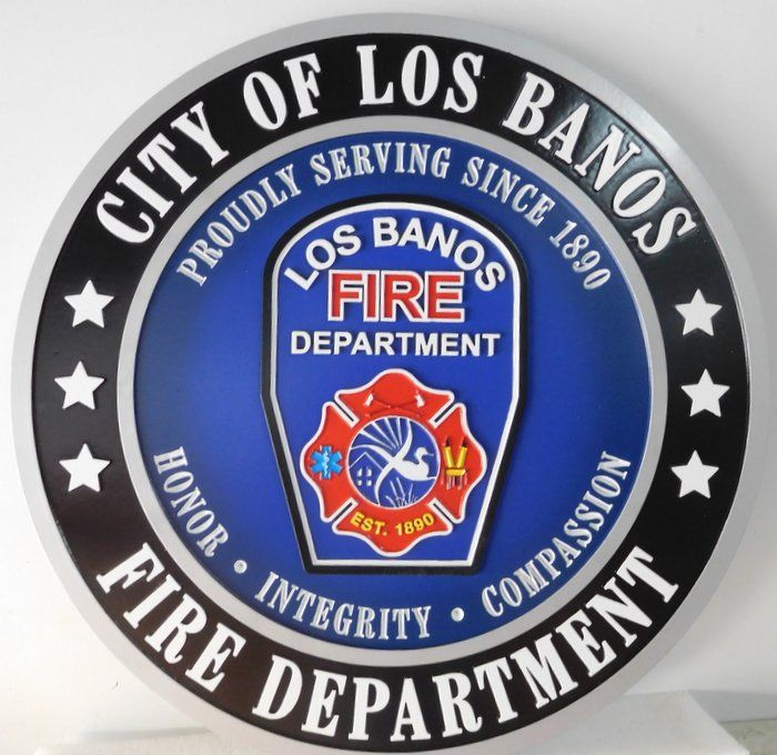 X33864 -  Carved 3-D High-Density-Urethane (HDU )  Wall Plaque of the Logo  for the Fire Department of the City of Los Banos.